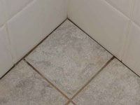 floor and wall separation in a leaking shower